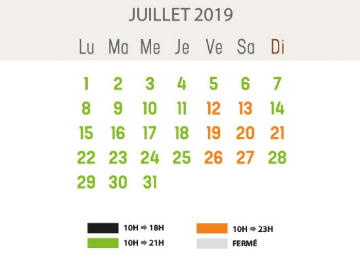 Heures d'ouverture - juillet 2019