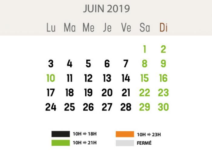 Heures d'ouverture - juin 2019