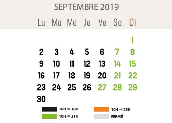 Heures d'ouverture - septembre 2019